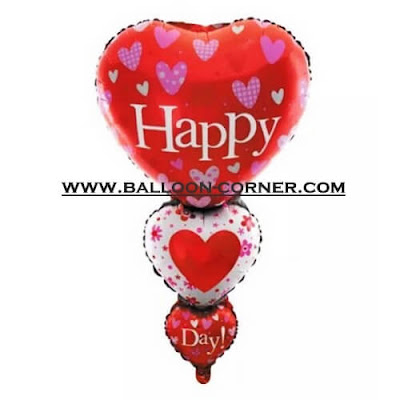 Balon Foil HAPPY DAY HATI 3 Susun (Ukuran JUMBO)