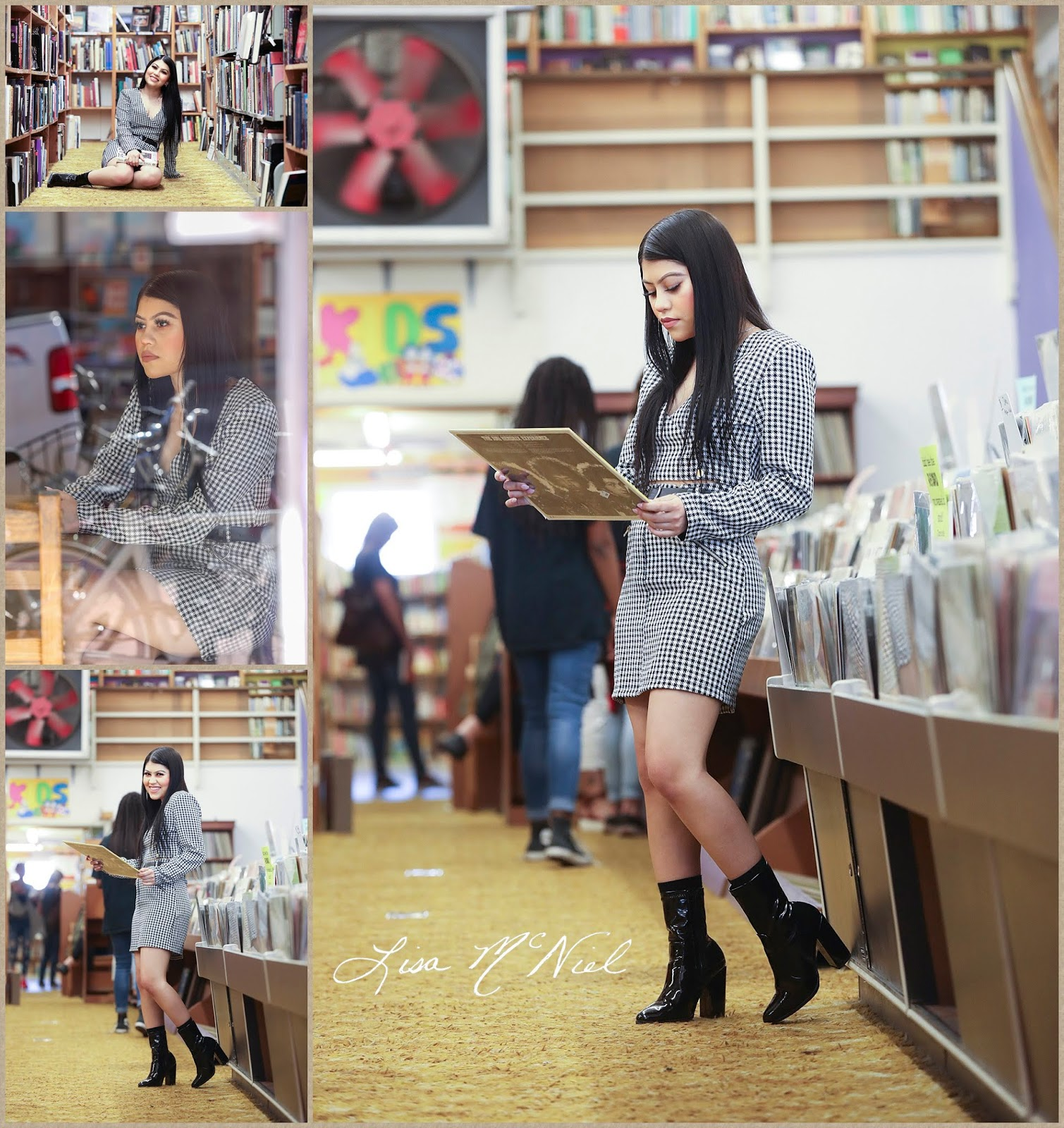 Girl in vintage book store with vinyl