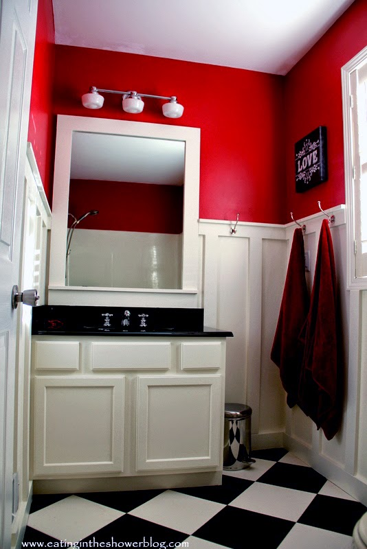 Checkerboard Style Vinyl Flooring in Red and White Bathroom Makeover