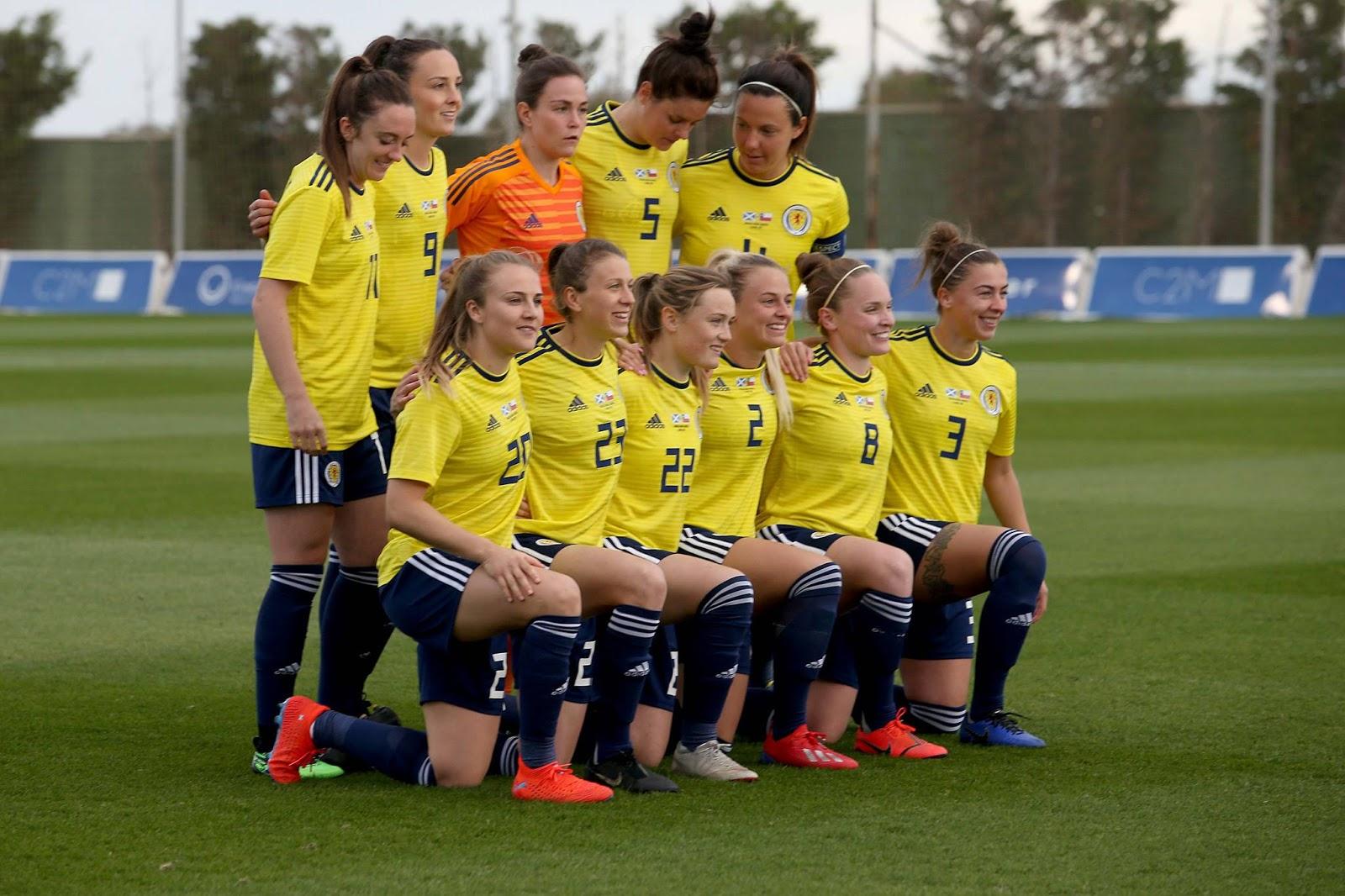 Formación de selección femenina de Escocia ante Chile, amistoso disputado el 5 de abril de 2019