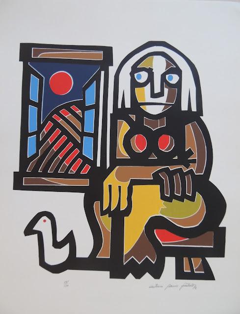 Antonio Patiño serigrafía mujer ventana pájaro