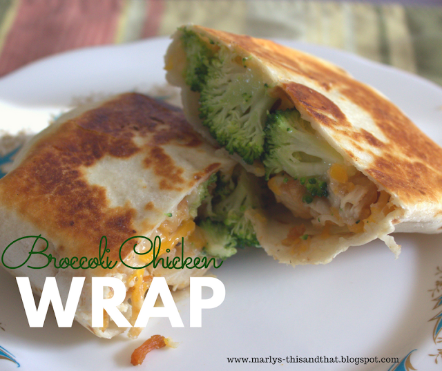 Broccoli and Chicken Mixture wrapped in a tortilla, served cold or hot.