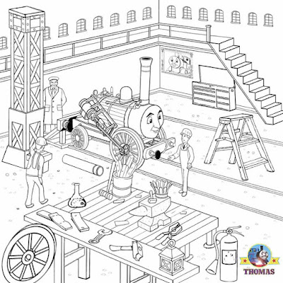 Cool free Thomas tank the train coloring steam engine workshop yard pictures to color activity pages
