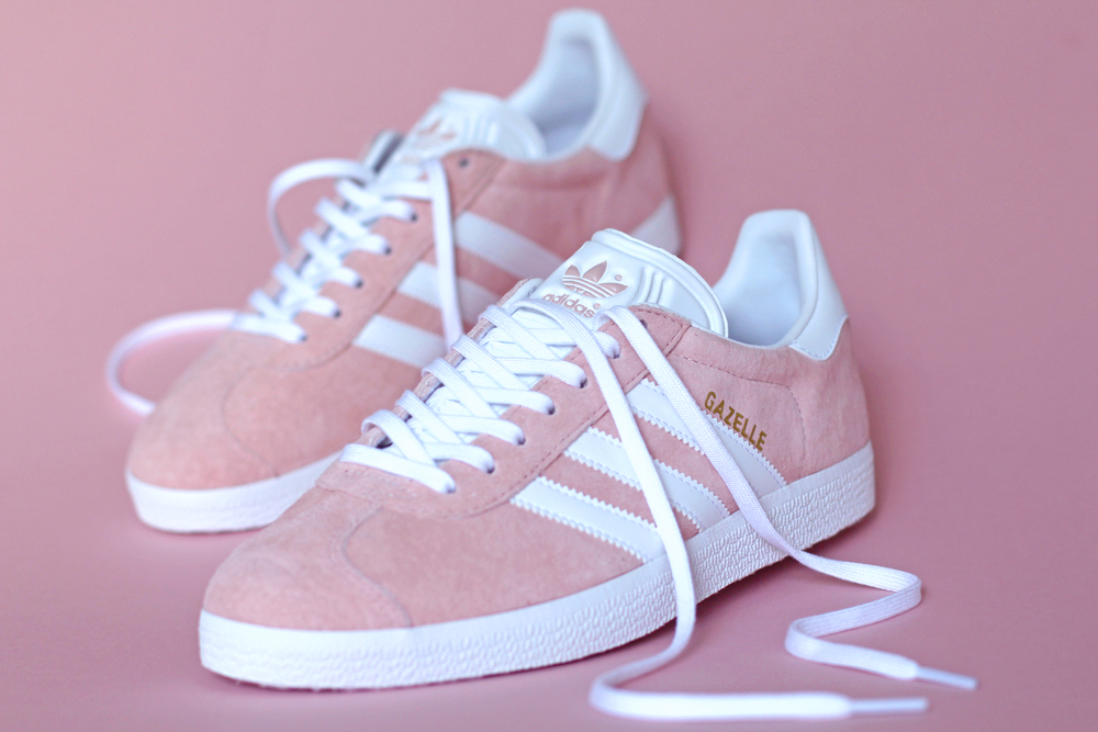 Pink suede Adidas Gazelle trainers - London style blogger