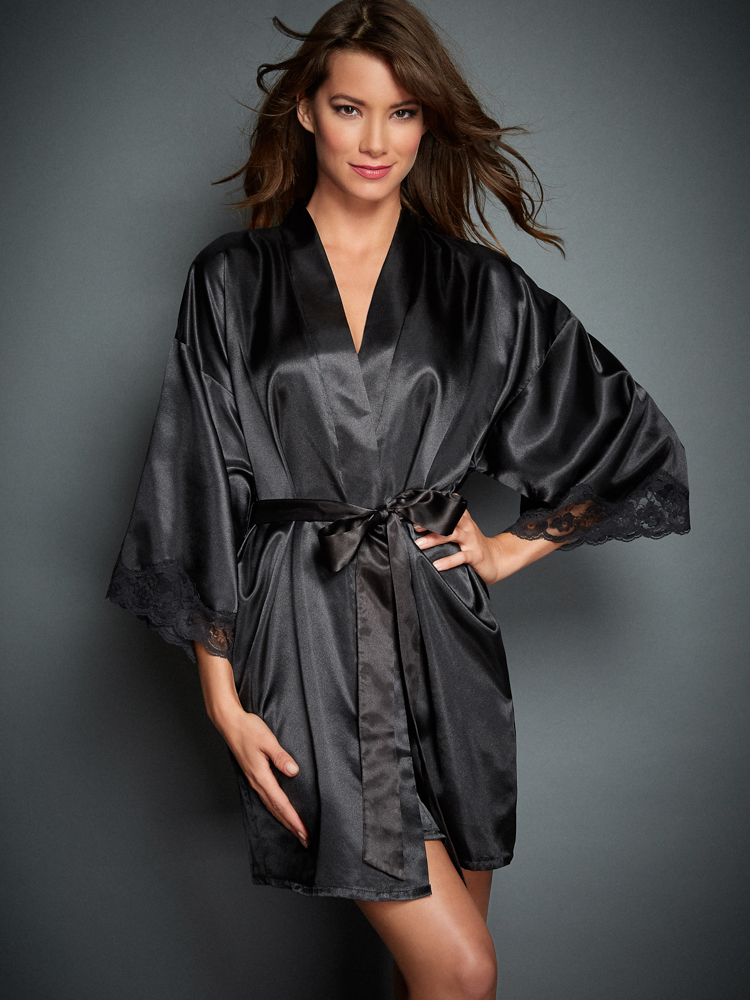 Silk Satin Dress Silk Satin Robe Blouse Dressing Gown-7134