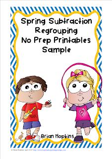 Spring Subtraction Regrouping No Prep Printables Sample FREEBIE