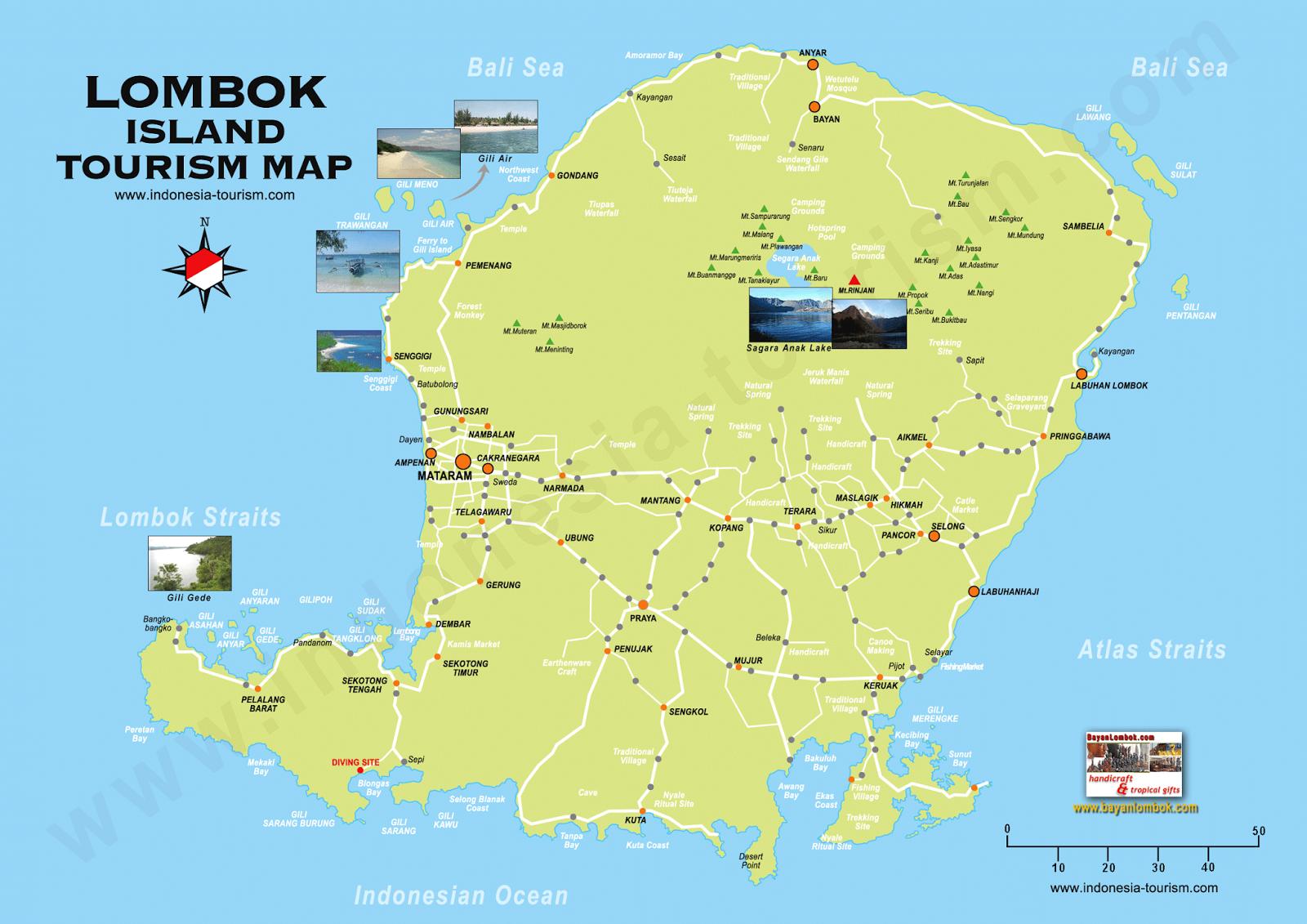 peta wisata lombok Tempat Wisata Menarik di Nusa Tenggara Barat (NTB)