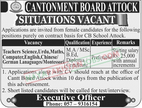 Latest Vacancies Announced in Cantonment Board Attock 29 November 2018 - Naya Pakistan