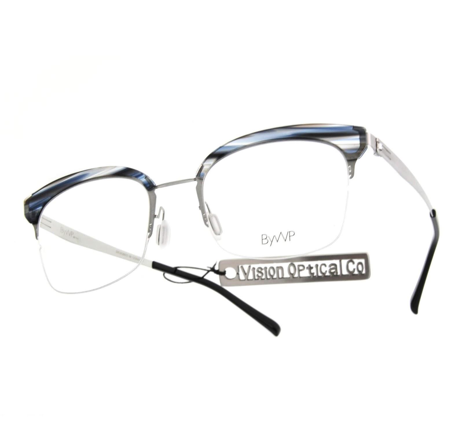 精明眼鏡公司: ByWP 0.5mm薄鋼片款式以濃重眉框配合略圓的半框設計