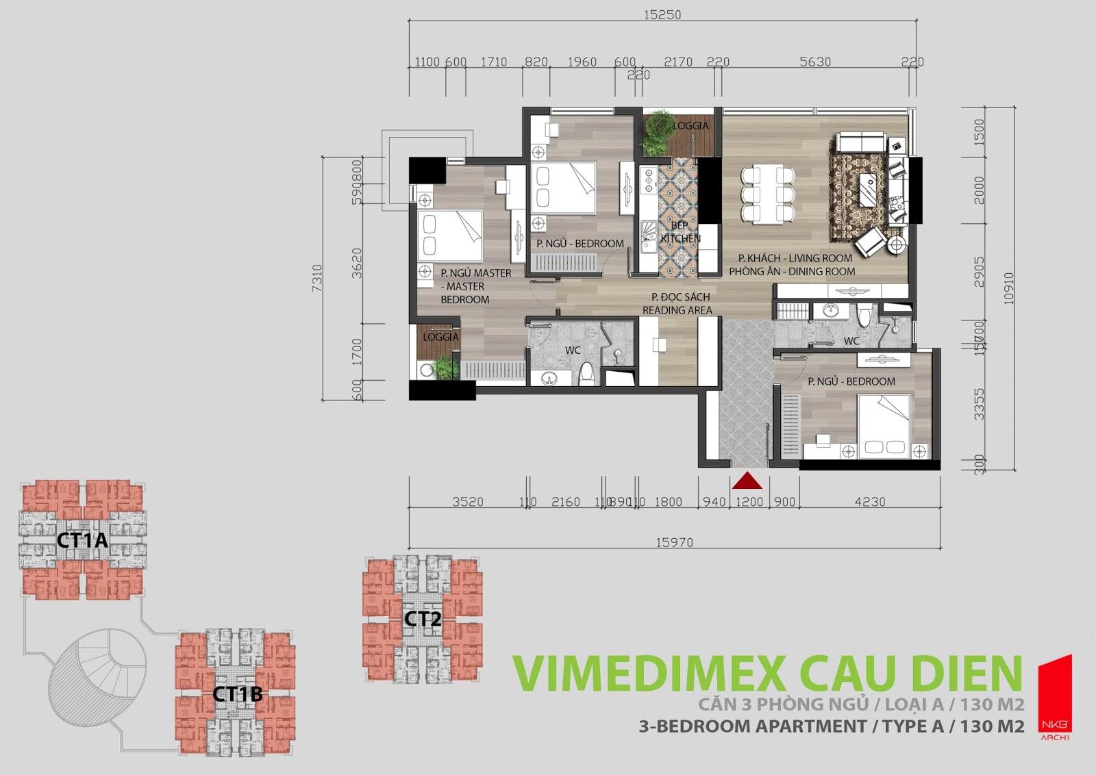 Thiết kế căn hộ 3 phòng ngủ 130m2 Iris Garden