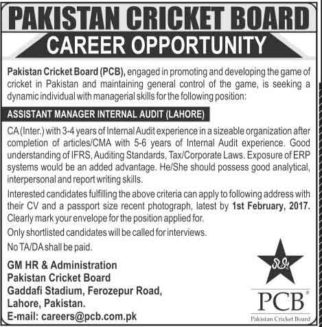 Pakistan Cricket Board (PCB) Lahore Jobs