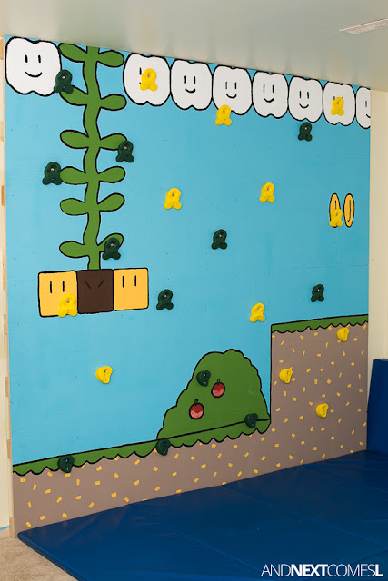 How to build a rock climbing wall for kids inspired by Super Mario