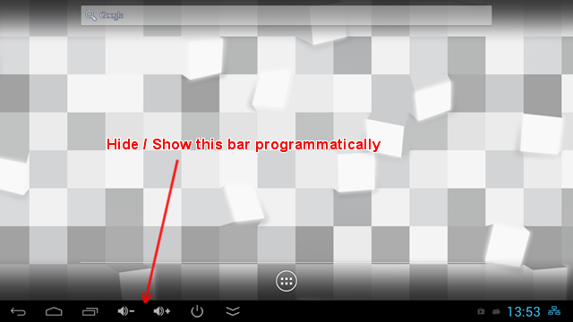 Hide / Show the system bar of Android programatically | just