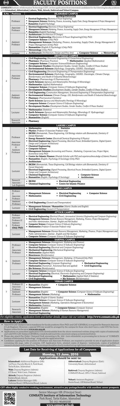 Teaching Faculty Jobs in Comsats Institutes 2016 Jobs