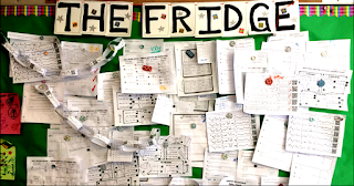 Free THE FRIDGE bulletin board letters to make a display of student work in your classroom