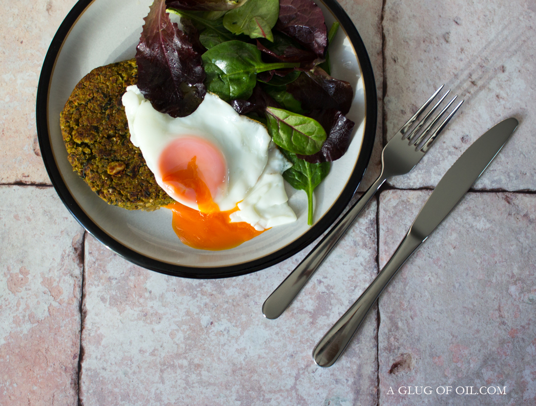 Black Kale and Quinoa Burgers with Egg and Baby Leaves