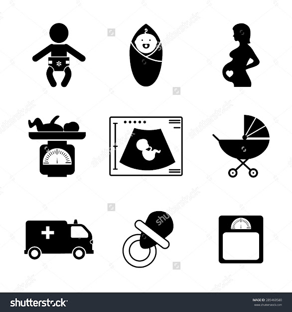 Pregnancy And Birth Icons Set Baby And Woman Childbirth And Motherhood  Vector Illustration