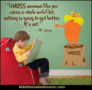 The Lorax wall decals  Dr Seuss bedroom ideas - Dr.Suess bedroom decor - Dr Seuss Bedding - dr. seuss nursery  - decorating ideas  cat in the hat theme bedrooms -  Dr Seuss wall decal stickers - DR SEUSS wall mural decal