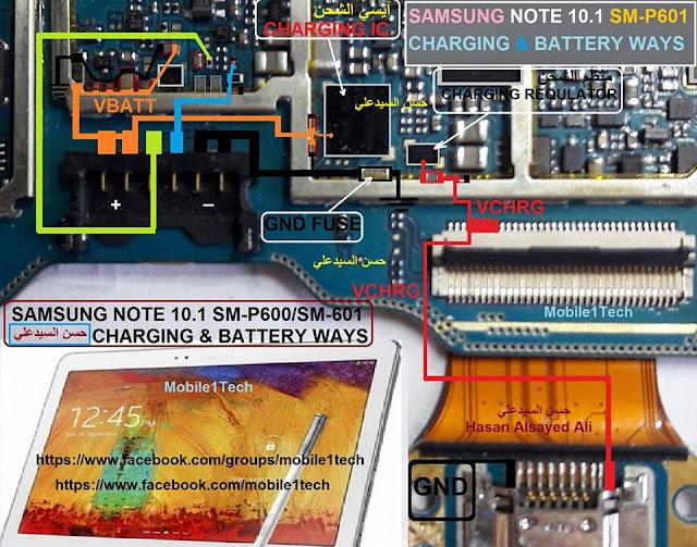 Samaung Note 10.1 P601 SM-P600/SM-P601 Charging & Battery Jumper Ways
