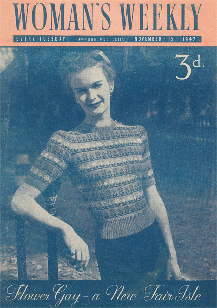 The Vintage Pattern Files: Free 1940s Knitting Pattern - Woman's Weekly Flower Fair Isle Sweater Here