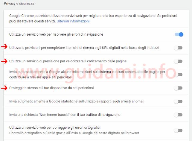 Impostazioni Chrome Privacy e sicurezza