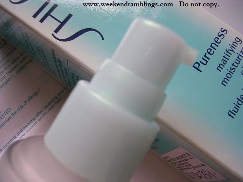 Shiseido Pureness Mattifying Moisturizer - pump dispenser - glass bottle