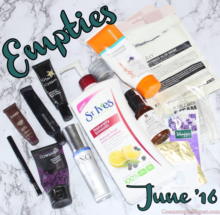 Here are the beauty products I used up in June 2016, and my thoughts on each. And the Beauty Empties Link-up.