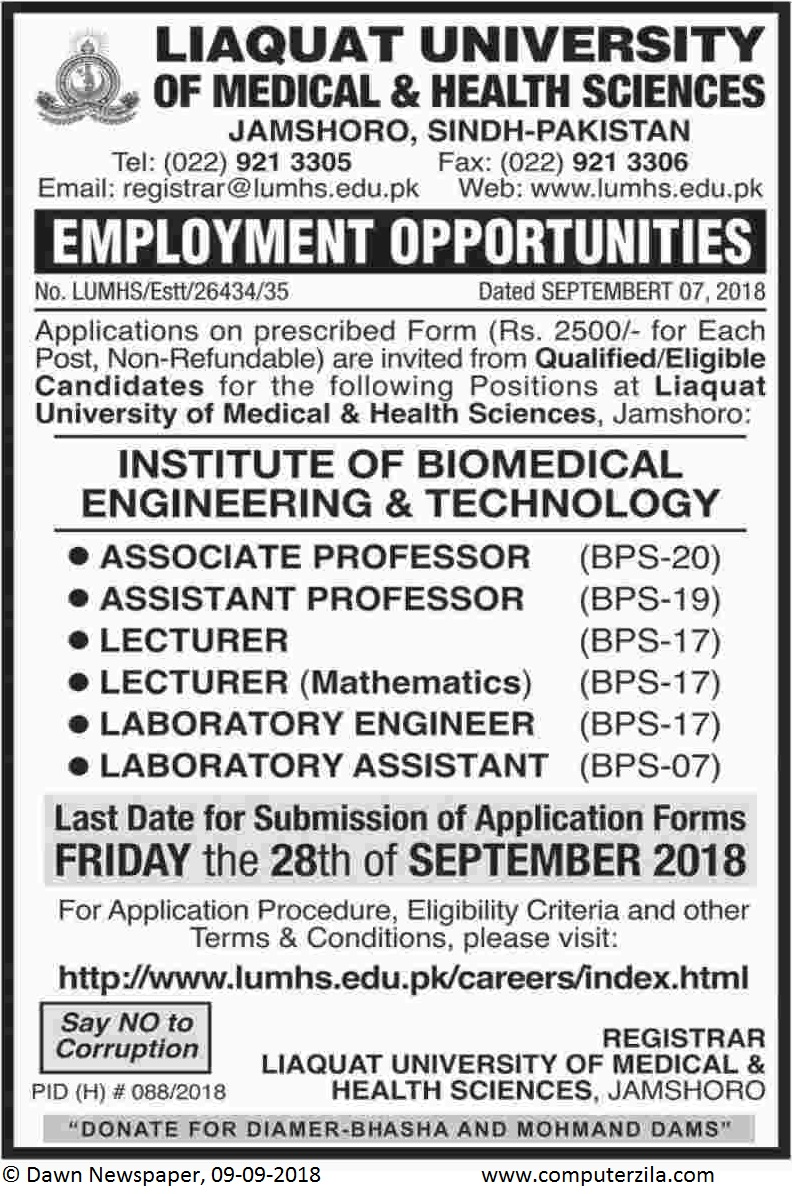 Employment Opportunities at Liaquat University of Medical & Health Sciences
