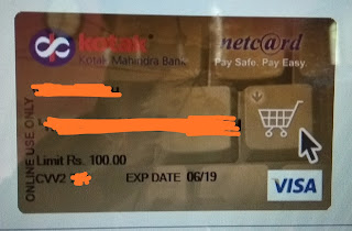 Kotak 811 virtual credit card netcard