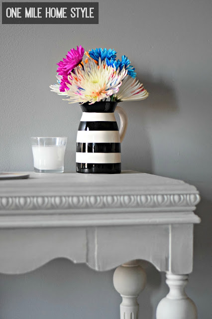 Drab to fab table makeover with a vase of bright flowers - One Mile Home Style