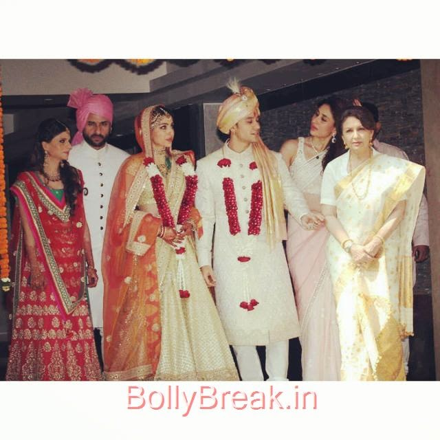 the complete pataudi family.. from left : saba ali khan, saif ali khan, soha ali khan, kunal khemu, kareena kapoor, sharmila tagore