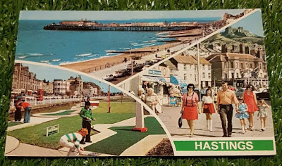 A postally used postcard showing Hastings Crazy Golf. Postmark of 29 July 1976. Published by Photo Precision Limited. Code PLX3778