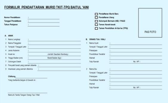 Contoh Formulir Pendaftaran Santri/Siswa Baru
