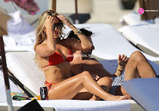 Sylvie Meis Super  fit  body in tiny red bikini WOW Beach Side  Pics Celebs.in Exclusive 011