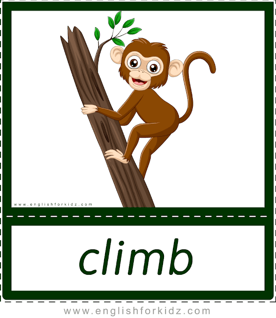 Climb (monkey) - printable animal actions flashcards for English learners