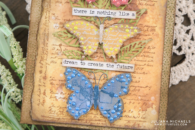 Nothing Like A Dream Card by Juliana Michaels featuring Ranger Ink Liquid Pearls, Embossing Powders, Distress Ink and Distress Oxide Inks, Tim Holtz Stampers Anonymous Entomology and Flutter Stamp Sets and Sizzix Skeleton Leaves Dies.