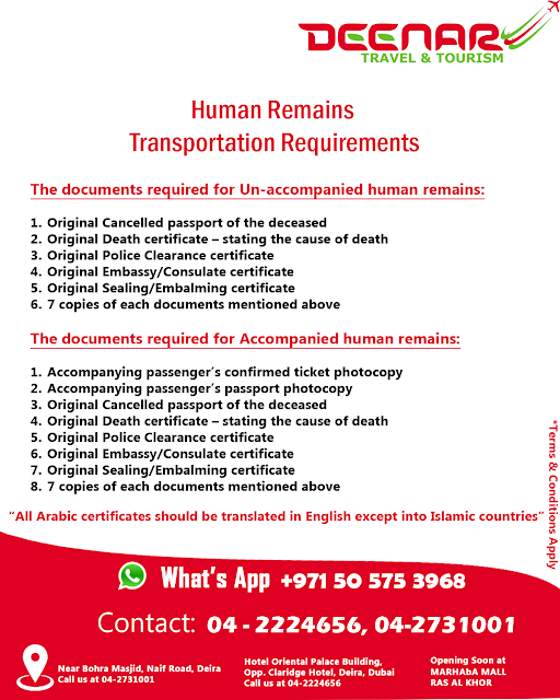 deenartravels, human remains transport