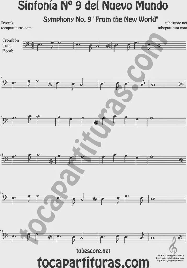 Sinfonía del Nuevo Mundo Nº 9 Partitura de Trombón, Tuba Elicón y Bombardino Sheet Music for Trombone, Tube, Euphonium Music Scores Symphony No. From the New World by Dvorak