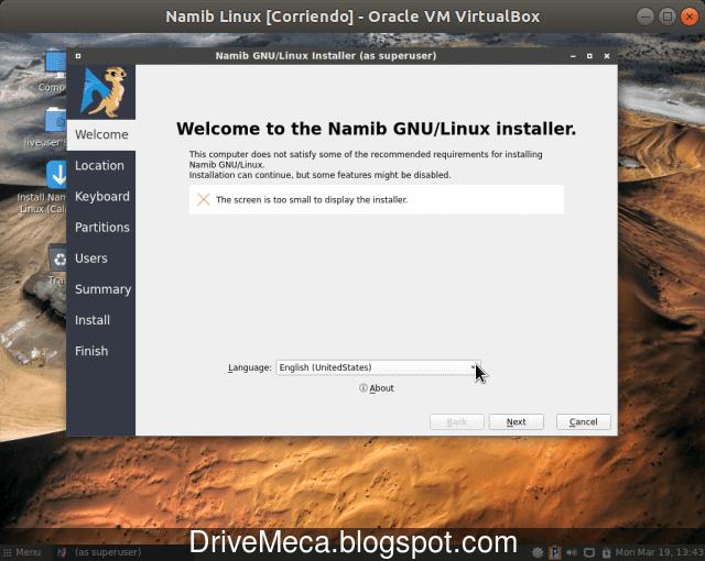 Elegimos el idioma en que instalaremos Namib Linux