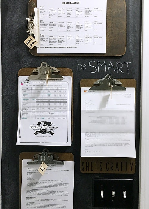 Chalkboard Wall Clipboard Command Center, vintage clipboards