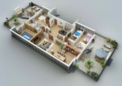 Narrow 3D floor plans with two terraces