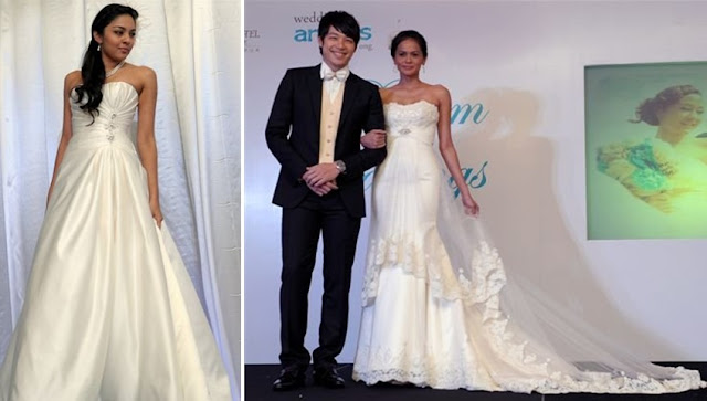Nadine Ann Thomas (Miss Universe Malaysia 2010) in a pleated, A-line wedding gown, Alan Yun (model/ actor), model Tengku Azura donning an empire cut lacey sheath number