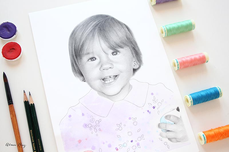 Retrato dibujado a lápiz y acuarela