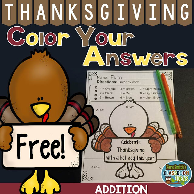 Fern Smith's Classroom Ideas Thanksgiving Color Your Answers Addition Turkey at TeacherspayTeachers, TpT.
