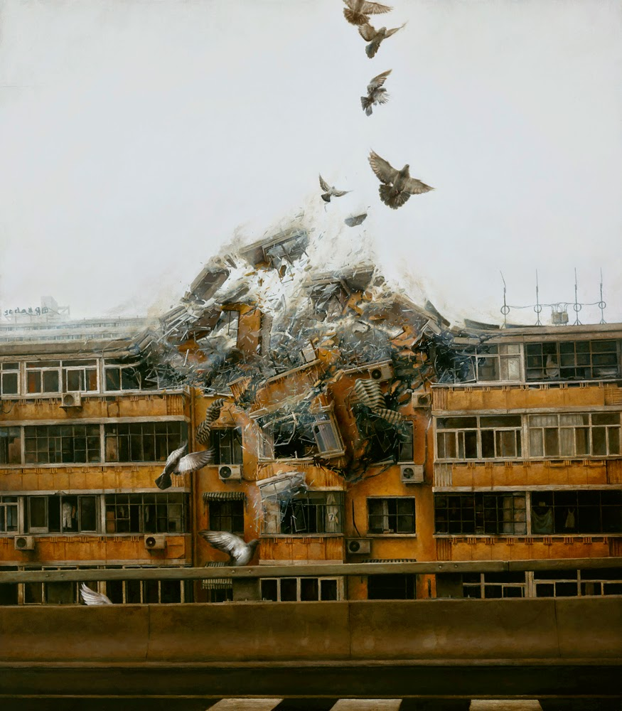 03-Begin-Again-Jeremy-Geddes-Body-Weightlessness-in-Surreal-Paintings-www-designstack-co