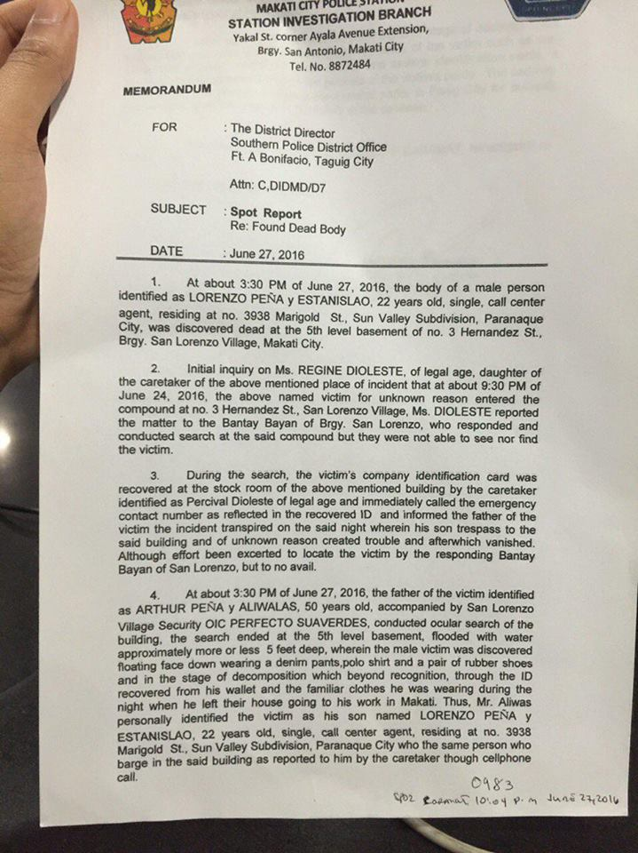 PNP Makati's Spot Report on Peña's death