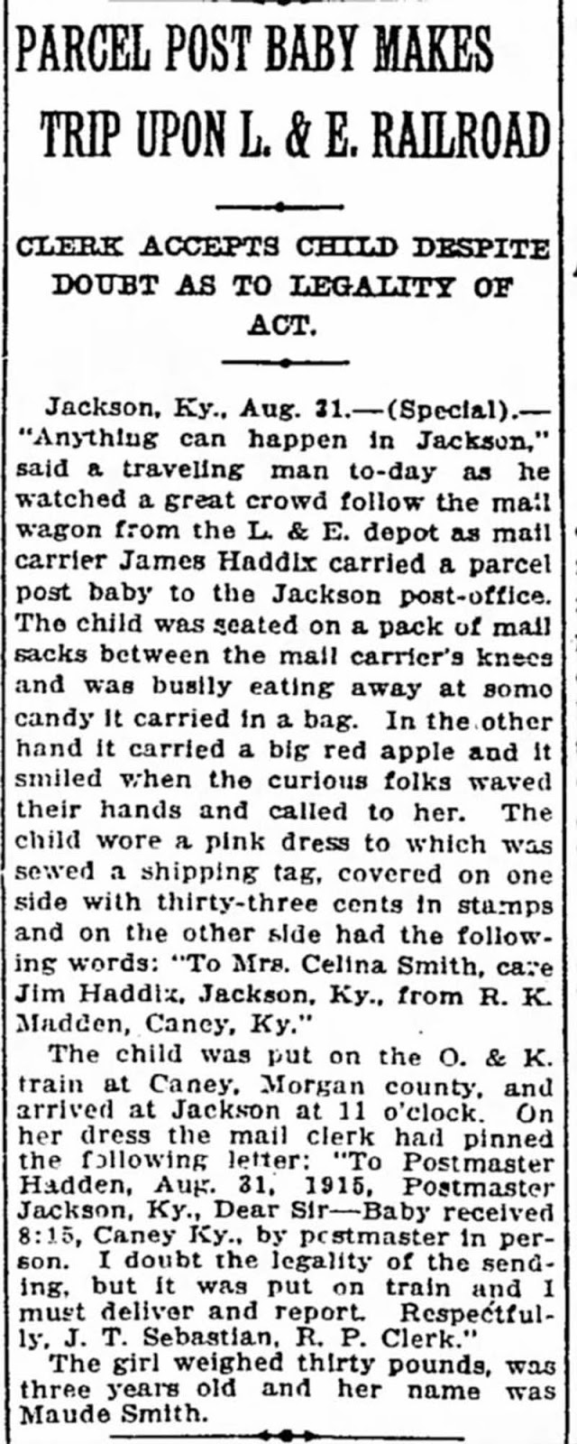 The last known account of a child being sent through the mail.