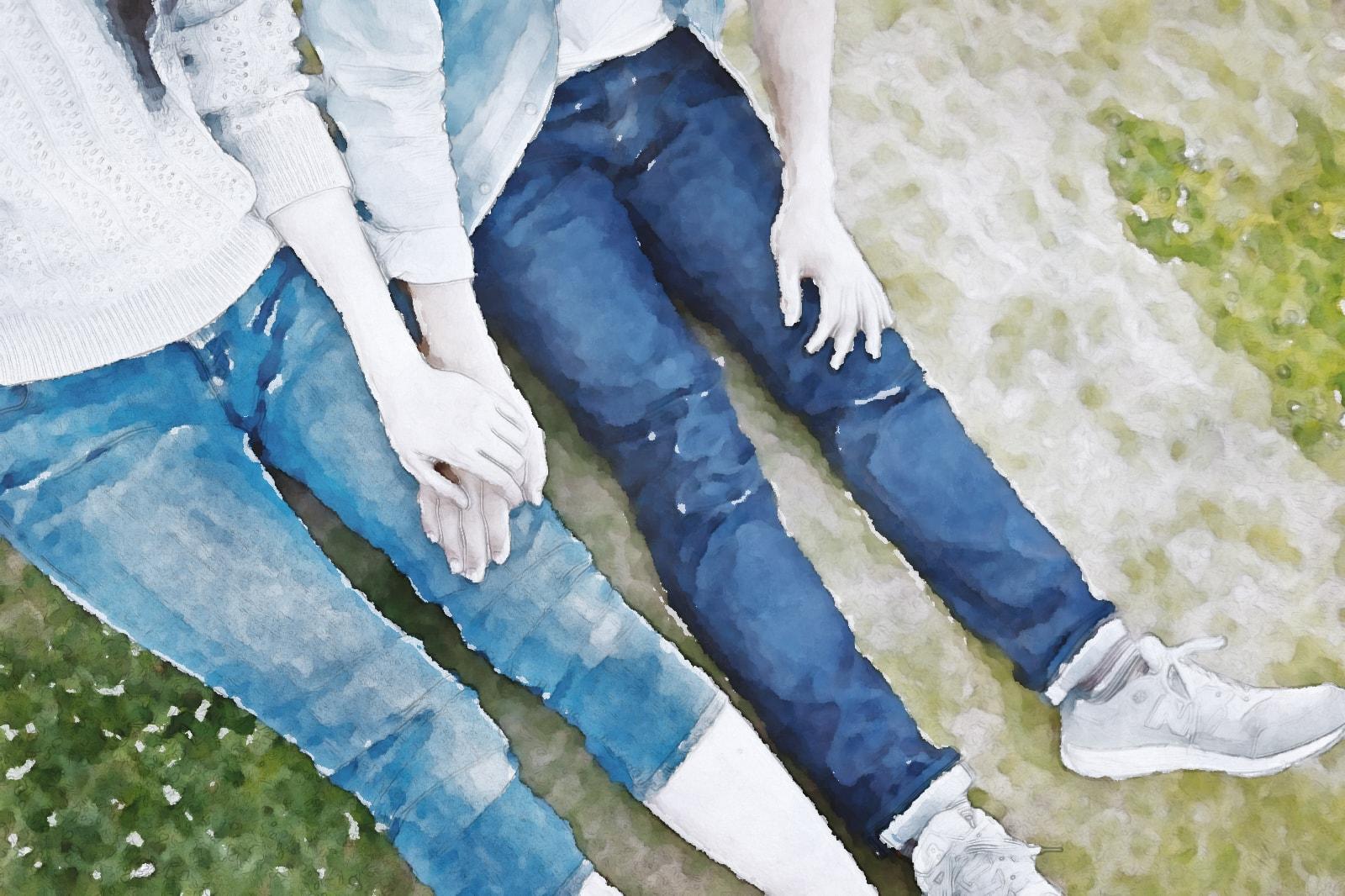 水彩画のカップル