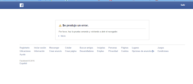 Se produjo un error en Facebook - MasFB