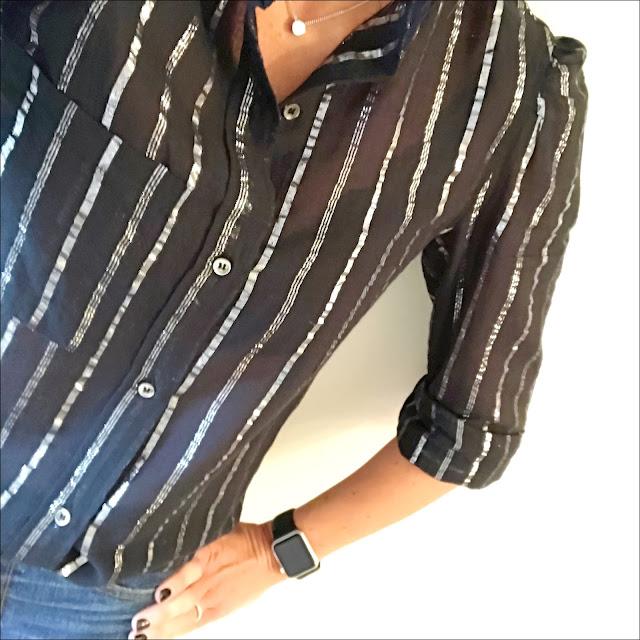 My Midlife fashion, isabel marant etoile linen metallic stripe blouse, j crew cropped billie flare jeans, baukjen sol san porter heels